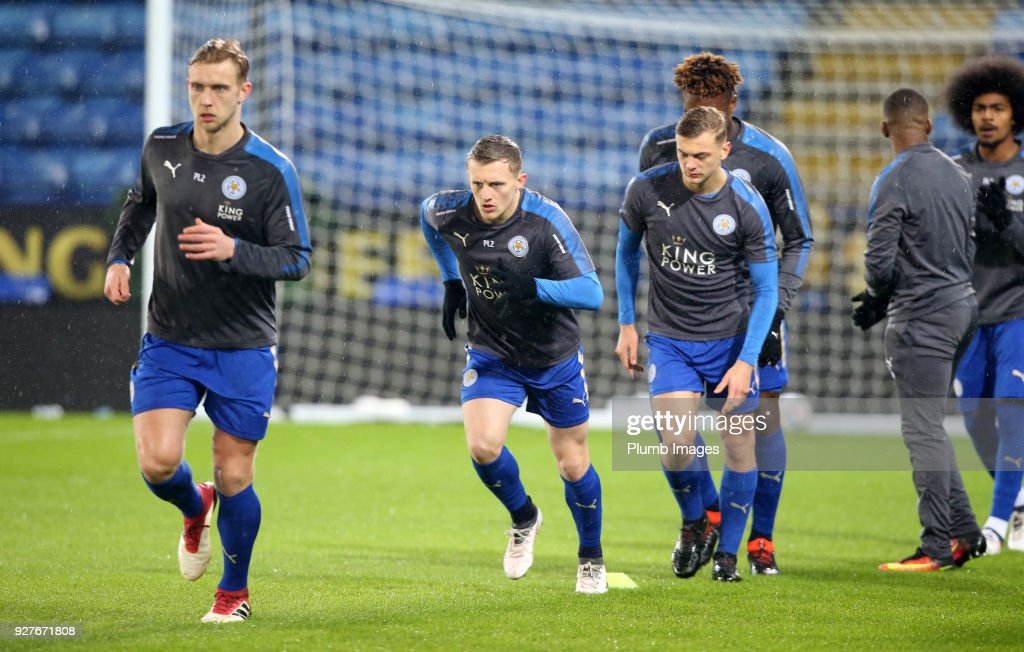 George Thomas and Sam Hughes of Leicester City warm up ahead of the Premier League 2 match between Leicester City and Liverpool at King Power Stadium, on March 5th, 2018 in Leicester, United Kingdom