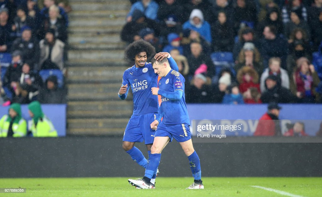 George Thomas of Leicester City celebrates with Hamza Choudhury of Leicester City after scoring to make it 2-0 during the Premier League 2 match between Leicester City and Liverpool at King Power Stadium on March 5, 2018 in Leicester, United Kingdom