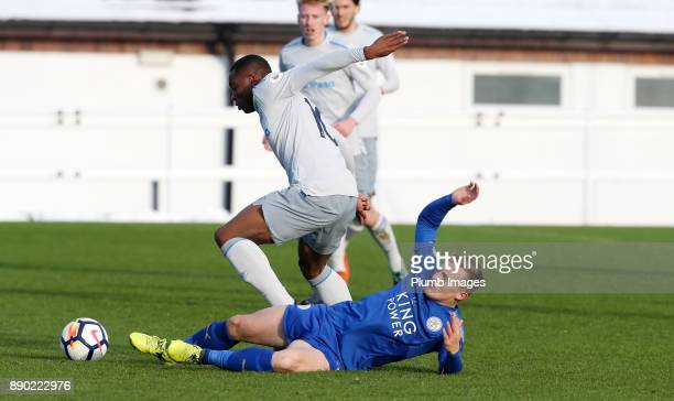 George Thomas of Leicester City in action with Dennis Adeniran of Everton during the Premier League 2 match between Leicester City and Everton at...