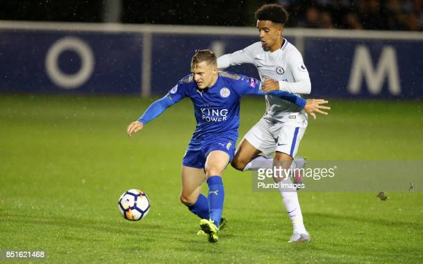 George Thomas of Leicester City in action with Jacob Maddox of Chelsea during the Premier League 2 match between Leicester City and Chelsea at Holmes...