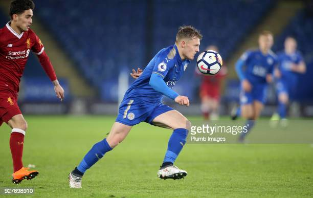 George Thomas of Leicester City in action with Yan Dhanda of Liverpool during the Premier League 2 match between Leicester City and Liverpool at King...
