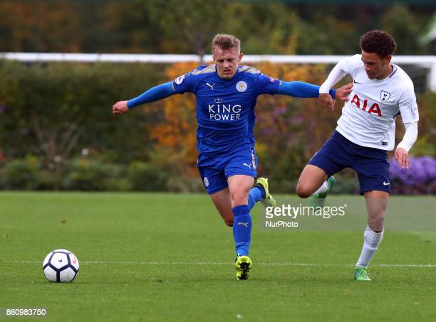 LR George Thomas of Leicester City Under 23s holds of Luke Amos of Tottenham Hotspur Under 23s during Premier League 2 Div 1 match between Tottenham...