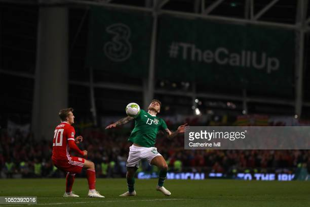 George Thomas of Wales and Jeff Hendrick of Republic of Ireland in action during the UEFA Nations League B group four match between Ireland and Wales...