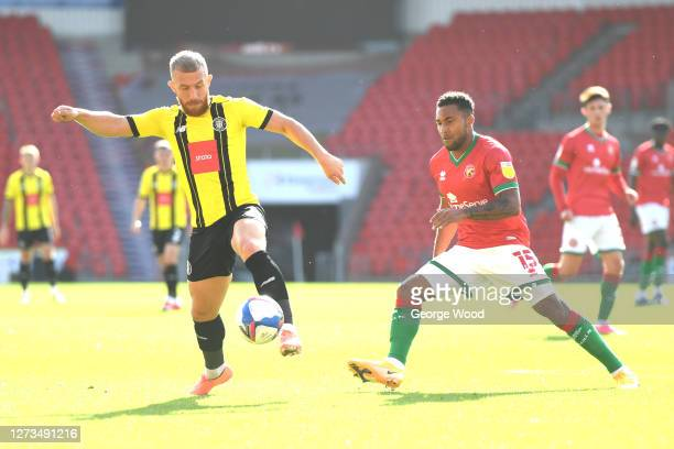 George Thomson of Harrogate Town controls the ball during the Sky Bet League Two match between Harrogate Town and Walsall at The Keepmoat Stadium on...