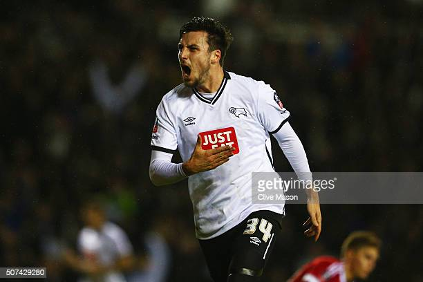 George Thorne of Derby County celebrates as he scores their first and equalising goal during the Emirates FA Cup fourth round match between Derby...