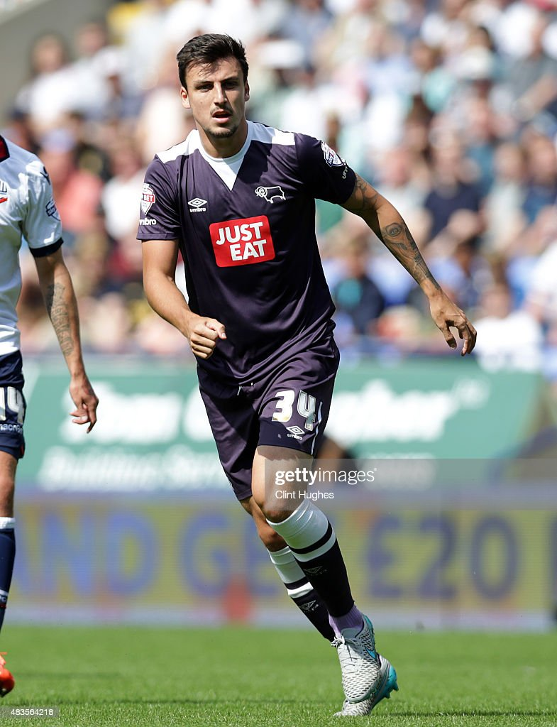George Thorne of Derby County during the Sky Bet Championship match between Bolton Wanderers and Derby County at the Macron Stadium on August 8, 2015 in Bolton, England.