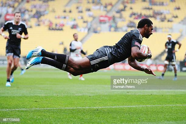 George Tilsley of New Zealand dives in for a try during the quarter final match between New Zealandi and Canada at Westpac Stadium on February 7 2014...