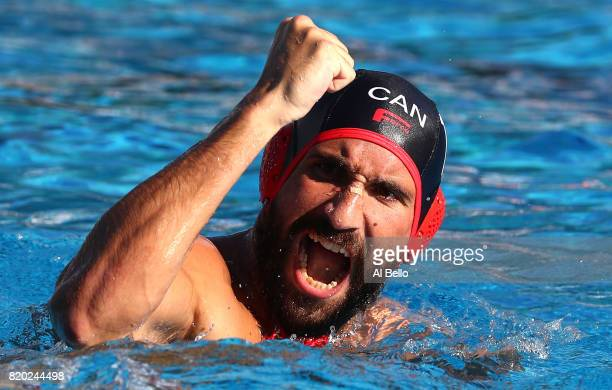 George Torakis of Canada celebrates during the Men's Water Polo Group A preliminary round match between Brazil and Canada on day eight of the...