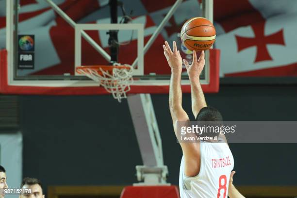 George Tsintsadze of Georgia throws the ball during the FIBA Basketball World Cup Qualifier match between Georgia and Serbia at Tbilisi Sports Palace...