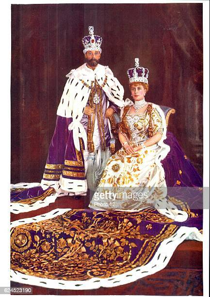 George V King of Great Britain 19101936 with his consort Queen Mary in coronation robes 1911