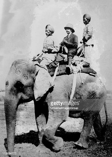 George V King of Great Britain from 1936 riding on an elephant on a hunting trip in Nepal December 1911 while in India to be installed as KingEmperor...