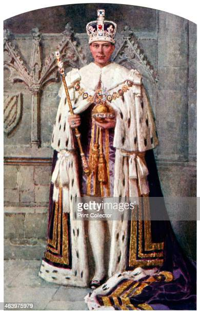the Robe of Purple Velvet with the Imperial State Crown 1937 A coloured plate from the Illustrated London News Coronation Record Number
