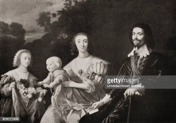 George Villiers 1st Duke of Buckingham 1592 –1628 with his wife Katherine Manners later Baroness de Roos their daughter Mary later Duchess of...