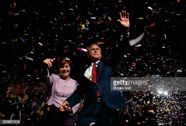 George W Bush and his wife Laura appear at a presidential campaign rally in Chattanooga Tennessee Bush won the 2000 Presidential Election against...
