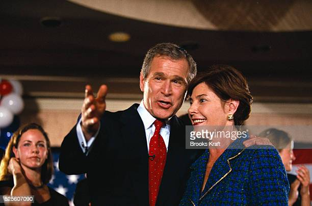 George W Bush and his wife Laura make an appearance during the primary election Bush won the 2000 Presidential Election against Vice President Al...