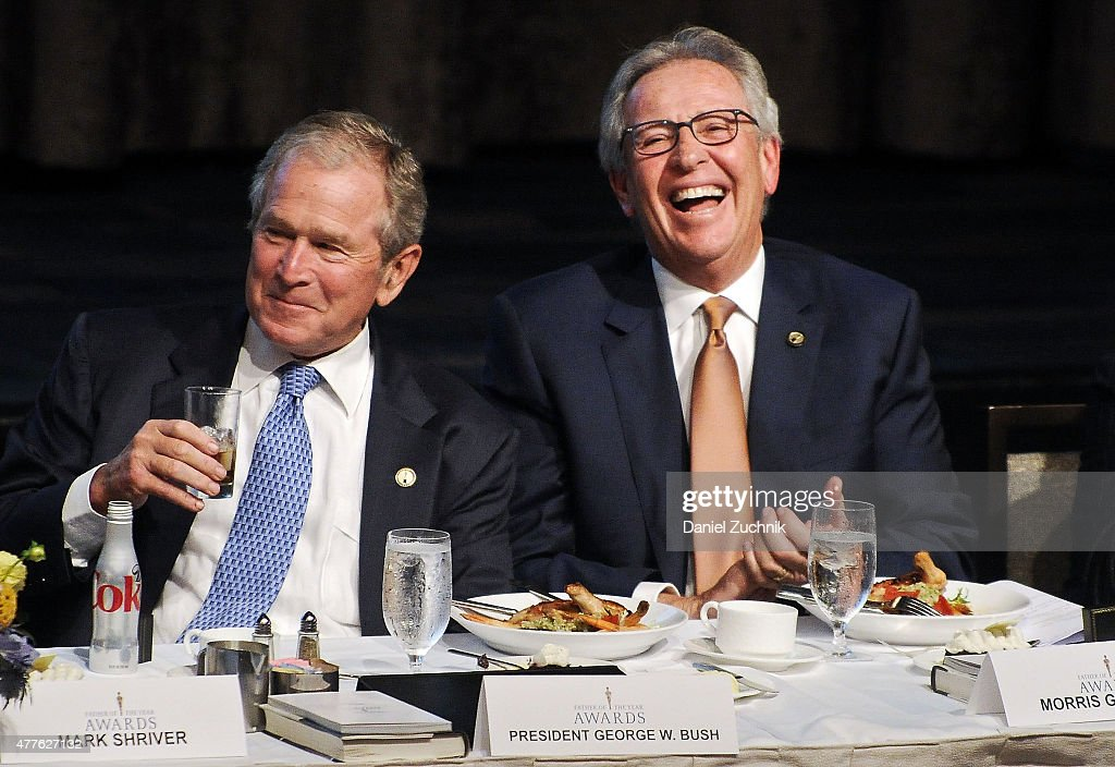 George W. Bush and Morris Goldfarb attend the 2015 Father Of The Year Luncheon Awards at New York Hilton on June 18, 2015 in New York City.