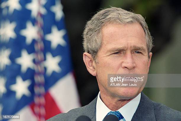 George W Bush At The White House Washington 18 novembre 2001 portrait du président américain George W BUSH lors d'une conférence de presse à la...