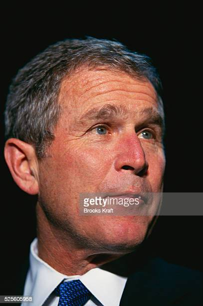 George W Bush attends a presidential campaign rally in Dubuqe Iowa Bush won the 2000 Presidential Election against Vice President Al Gore after a...