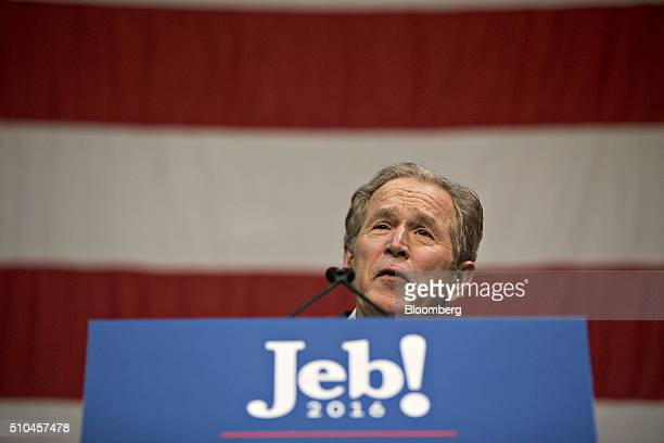 George W Bush former US president speaks during a campaign event for his brother Jeb Bush former Governor of Florida and 2016 Republican presidential...