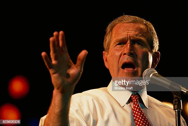 George W. Bush speaks at a rally during his presidential campaign. Bush won the 2000 Presidential Election against Vice President Al Gore after a...