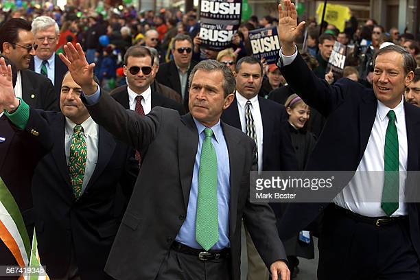 George W. Bush waved to the people of Binghamton, New York during the town's annual Saint Patrick's Day Parade held Saturday afternoon.