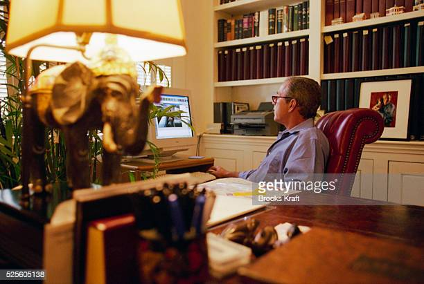 George W Bush works on the computer while at the Governor's Mansion in Austin Texas Governor of Texas since 1994 Bush was granted the United States...