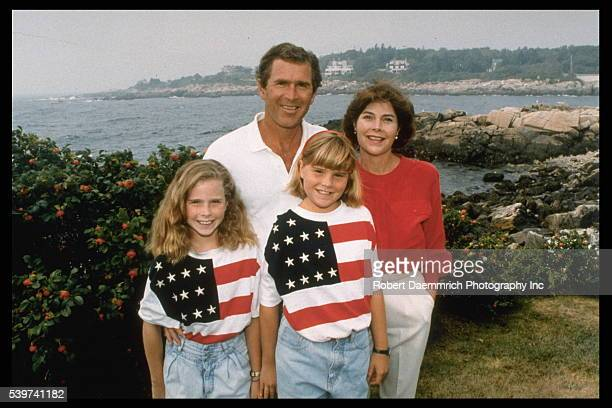 George W Laura Bush and their daughters Barbara and Jenna