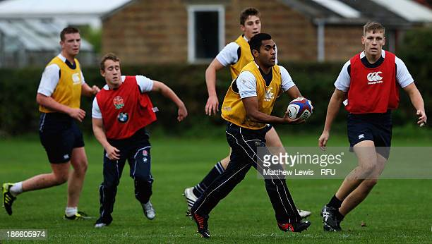 George Wacokecoke of England U18's in action during a training session at Loughborough University on November 1 2013 in Loughborough England