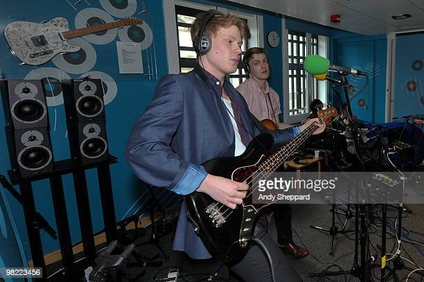 George Waite and Alex Saunders of The Crookes perform for a special edition of The Evening Session at the BBC 6 Music Studios on April 2 2010 in...