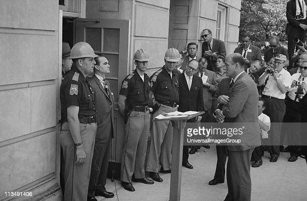 George Wallace Governor of Alabama for four terms between 1963 and 1987 Wallace attempting to block integration at the University of Alabama standing...