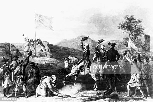 George Washington and his soldiers raise the British flag at Fort du Quesne during the French and Indian War