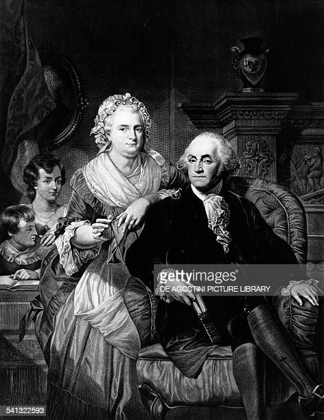George Washington and his wife Martha and sons engraving by Benjamin Homer Hall United States of America 19th century