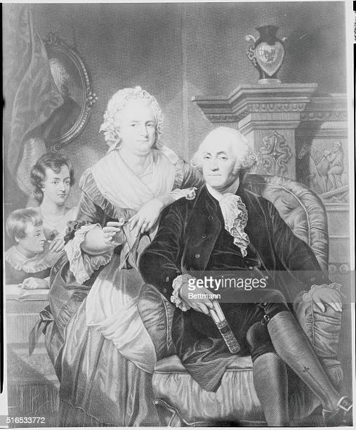 George Washington at Home from an old engraving by BH Hall dated 1867 George and Martha Washington with two of her four children by her first...