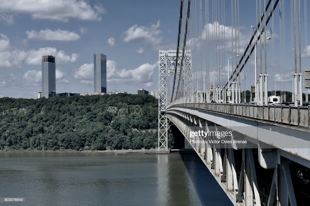 George Washington Bridge, Washington Heights, Hudson River, New York, USA : Foto de stock