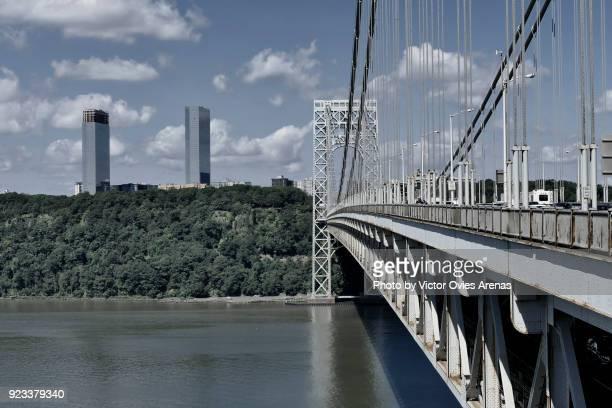 george washington bridge, washington heights, hudson river, new york, usa - victor ovies stock pictures, royalty-free photos & images
