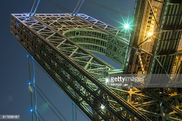 george washington bridge west tower - palisades amusement park stock pictures, royalty-free photos & images