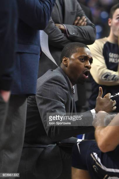 George Washington Coach Maurice Joseph talks to his team during a time out during an Atlantic 10 Conference basketball game between the George...