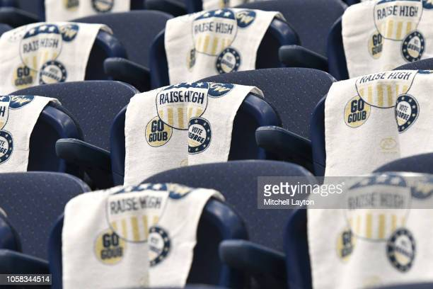 George Washington Colonials rally towels on chairs before a college basketball game against the Stony Brook Seawolves at the Smith Center on November...
