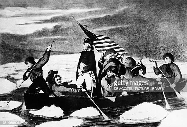 George Washington crossing the Delaware river December 25 engraving American Revolutionary War United States of America 18th century
