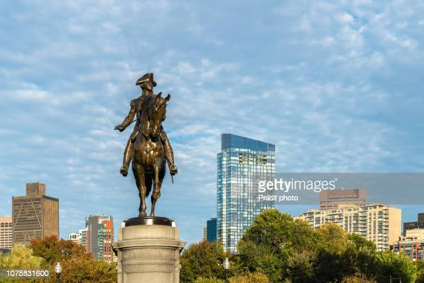 george washington equestrian statue at public garden in boston, massachusetts, usa. - boston stock pictures, royalty-free photos & images