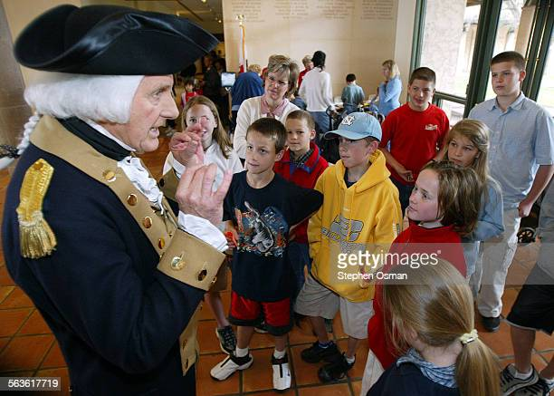George Washington explains to home schooled children from Newhall how his false teeth would stain from the red wine he liked to drink The Ronald...