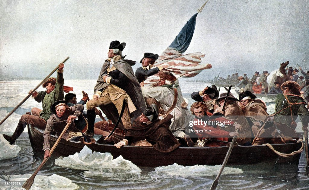George Washington, first President of the United States of America following the victory in the War of independence, pictured crossing the Delaware river on a boat en route to the Battle of Trenton. : News Photo