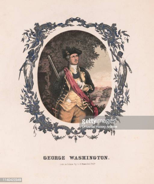 George Washington First President of the United States ThreeQuarter Length Portrait in Uniform Lithograph by Louis N Rosenthal Philadelphia 1850's