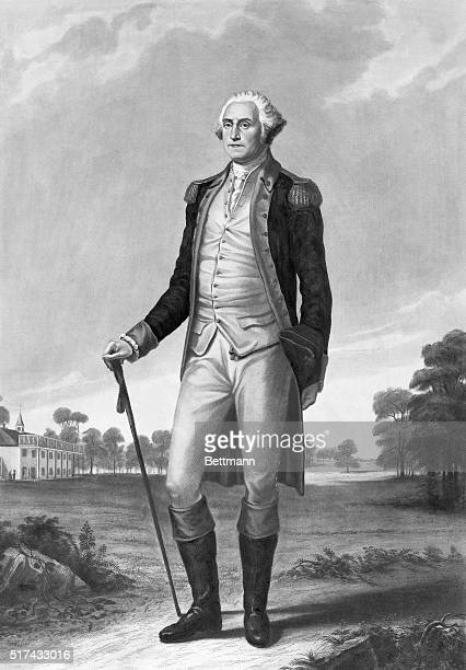 George Washington is shown standing at Mount Vernon Painting by George Hicks