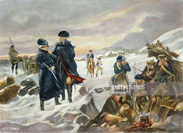 George Washington meets with Marquis Lafayette at Valley Forge where the Continental army suffered through the cold winter during the American...