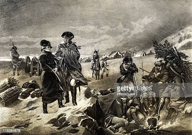 George Washington meets with the Marquis Lafayette at Valley Forge during the winter of 1777 1778 when the Continental army suffered through a harsh...