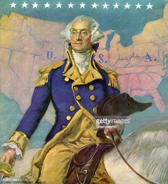 George Washington on horseback in front of a map of the United States by James Montgomery Flagg c 1935 Screen print