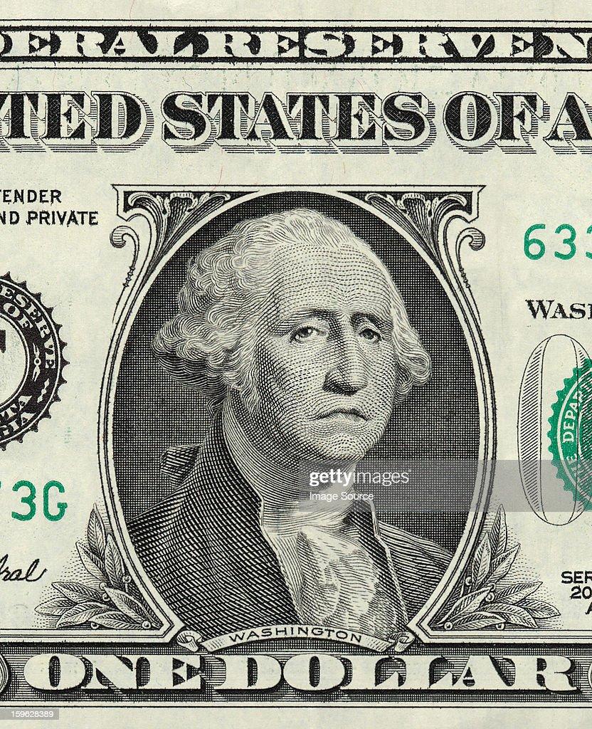 George Washington on one US dollar with sad expression : Stock-Foto