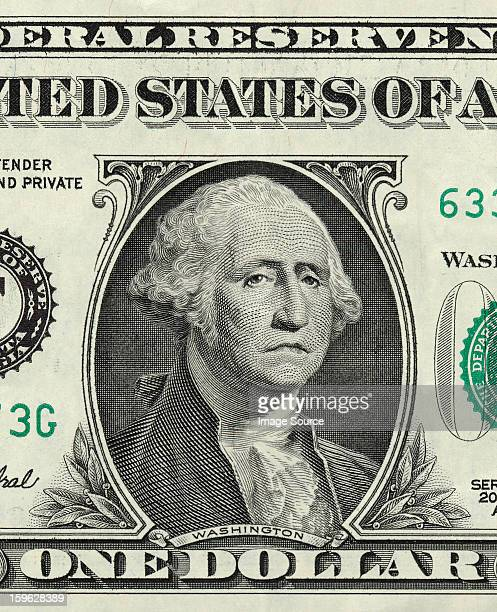 George Washington on one US dollar with sad expression