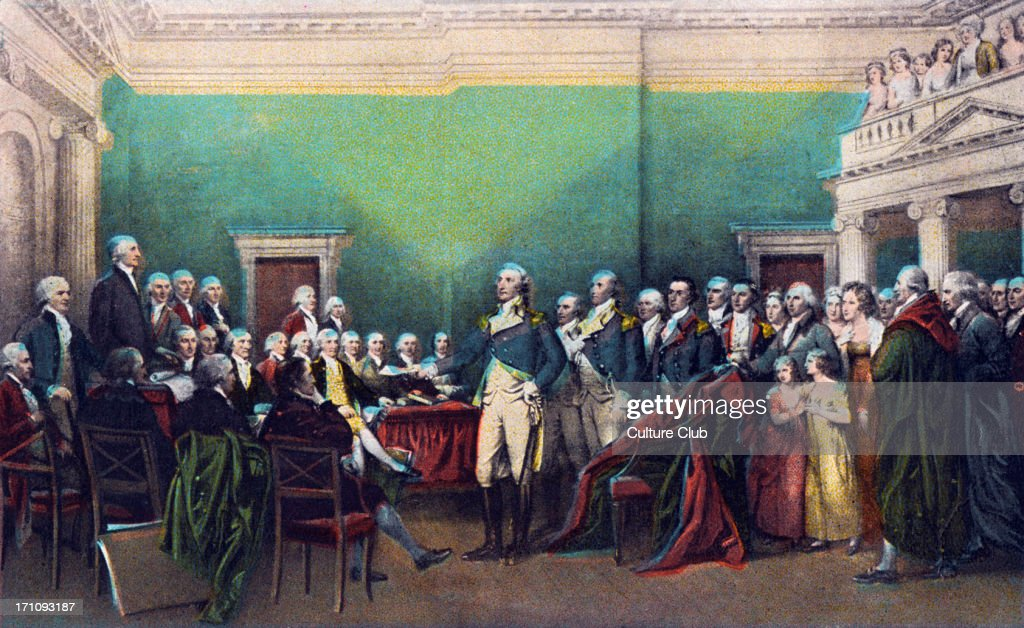 George Washington - painting of the resignation of the 1st president of America in Annapolis on December 23rd, 1783. : News Photo